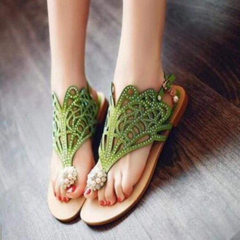 2017 new Bohemian sandals Women  summer Clip toe Hollow Rhinestones flat sandals woman flip flops green Fashion women shoes<br><br>Aliexpress