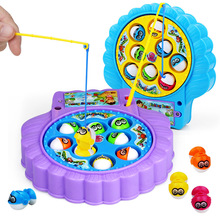 Children's Muscial Magnetic Fishing Toys Educational Toys Musical Gifts Electric Rotating Fishing Game 8 Fishs(China)