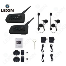 LEXIN 2pcs R6 1200M BT Motorcycle Wireless Intercom Helmet Headsets for 6 Riders Intercomunicador Bluetooth Para Motocicleta