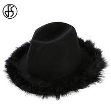 FS Vintage Fedora Hat For Women Black Handmade Feather Design Trilby Hats Winter Wool Felt Cap Sombrero Mujer(China)
