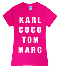 2017 sexy Summer karl coco tom marc print t shirt Women brand tops harajuku tee pink shirt funny angel grunge femme black white