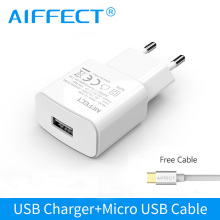 AIFFECT Travel Wall Charger USB Charger Adapter EU Plug 5W 10W Universal Mobile Phone Charger With Micro USB Cable For Samsung