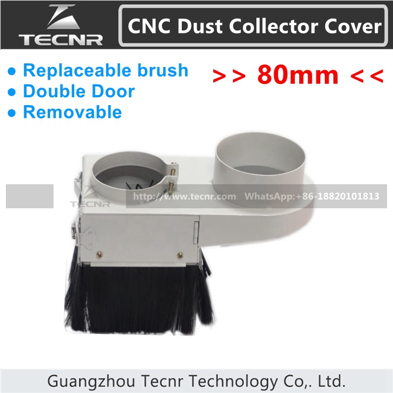 removable cnc dust collector cover 80mm double door CNC Router Accessories for 1.5KW 2.2KW spindle motor(China (Mainland))