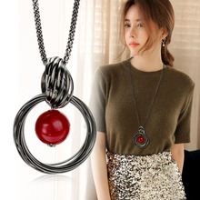 New Sweater Necklaces Circles Simulated Pearl Ball Pendant Long Necklace Women Chain Fashion Jewelry KQS(China)