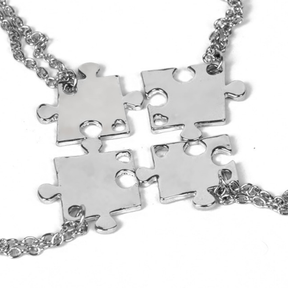 Necklace Set For Family Jigsaw Puzzle Pendant Necklace Friendship Jewelry BFF Necklaces Best friend Chokers For 4
