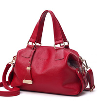 2017 Boston Genuine Leather Women Tote Bag High Quality Female Handbag Lady Red Blue Black Beige Shoulder Bag For Shopping Work(China)
