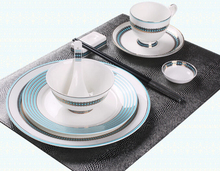 6-piece sky blue color aegean sea decorative pattern porcelain west tableware dish set(China)