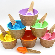 1PC Kids Ice Cream Bowls Ice Cream Cup Couples Bowl Gifts Dessert Container Holder With Spoon Best Children Gift IC892348
