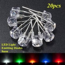 Wholesale Price 20pcs 8mm Straw Hat LED Water Clear Light Emitting Diodes Lamp Kit DIY LEDs Set Blue Green Yellow Red White(China)