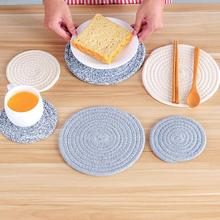 Round Weave Placemat Soft Cotton Thread Thicker Cloth Dining Table Mat Disc Pads Bowl Pad Coasters Waterproof Table Cloth Pad(China)