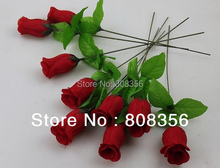 "RED 100pcs 30cm/11.8"" Length Artificial Wedding Single Rose Flower Decorative Flower(China)"