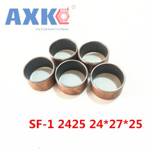 Buy AXK 10pcs SF-1 2425 24x27x25mm carbon steel self lubricating brass bush DU oilless bearing bushing