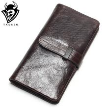 Luxury Brand High Quality 100% Top Genuine Oil Wax Cowhide Leather Women Long Bifold Wallet Purse Vintage Designer Male Carteira(China)