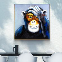 Nordic Style Canvas Painting Orangutan Caesar Funny Oil Painting Posters And Prints HD Fashion Wall Art Pictures For Living Room(China)
