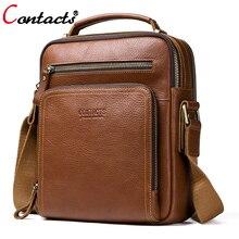 CONTACT'S Crossbody Bags Men Shoulder Bag Male Men's Genuine Leather Bags Men Messenger Luxury Men Bags Designer