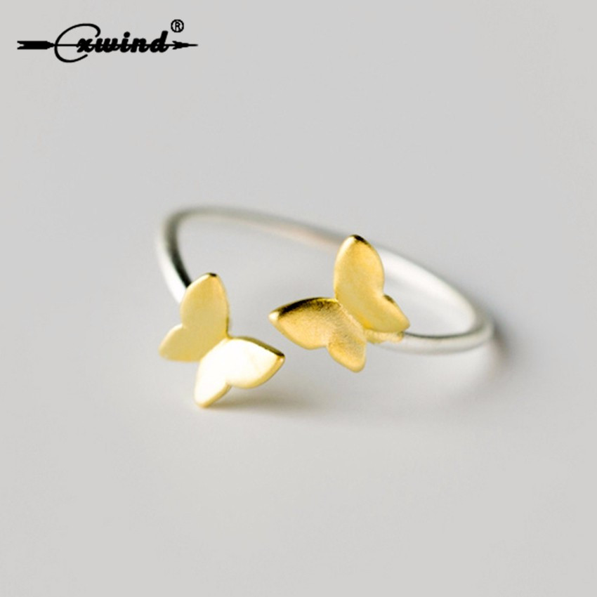 Cxwind Silver Ring Double Gold Color Butterfly Open Ring Pinkie Finger Toe Rings Anillo For Lady Women Christmas Gift Jewelry