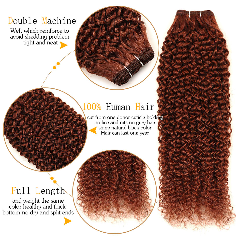 PINSHAIR Pre-Colored Brazilian Human Hair 3 Bundles With lace closure 4x4 Inch Color 33 Jerry Curly Non-Remy Hair Weave Extension (15)
