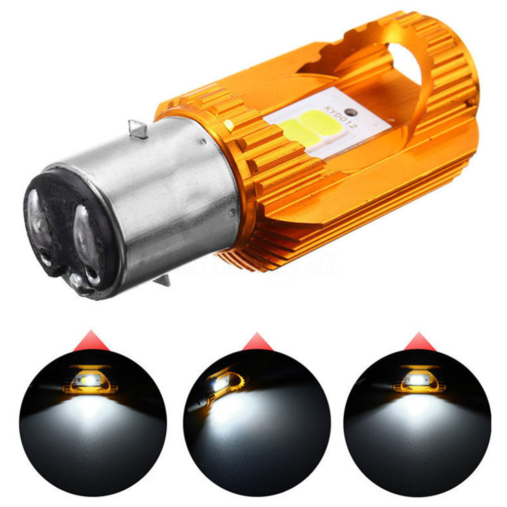 LED Motorcycle Headlights BA20D 6500K H6 Kdcw1 COB 12W title=