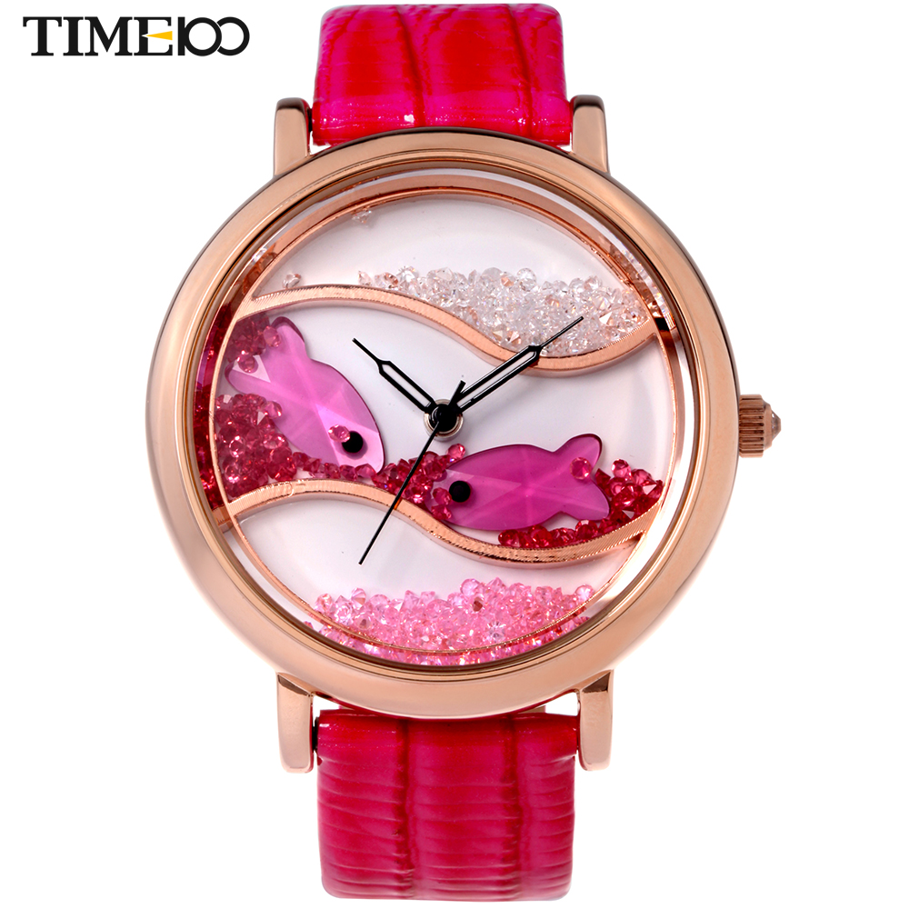 Time100 Ladies Big Case Flowing Crystal Fish Dial Analog Red Leather Strap Dress Quartz Wrist Watches For Women Relojes Clock<br>