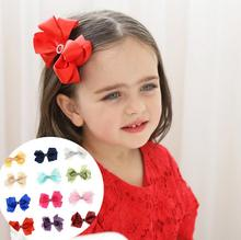 Girl Hair Accessories set kid 1pc big Ribbon bowknot Hairpin clip with shinning rhinestone+2pcs elastic hair tie bands ring T16