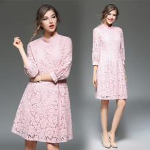 OL Vintage Casual Summer Beach Party style Lady Lace Dresses Long Sleeve Floral Empire A-Line Stand Plus Size Women Dres