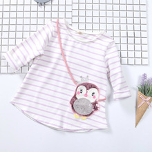 New Girls Cotton T-Shirt 2017 Spring Autumn O-neck penguin Sequins Baby girl long Sleeve Top Kids Clothes1-6T(China)