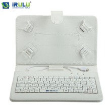 "iRULU RUSSIAN KEYBOARD for 10""Tablet PC Using Russian Language People Leather Micro USB Keyboard Case Black White New Hottest"