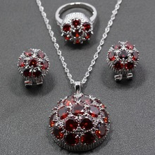 Best Selling Sterling Silver Red Garnet Jewelry Set Earrings/Pendant/Necklace Chain/Ring For Women Free Jewelry Box TZ152