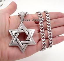 Men's silver 316L Stainless Steel Large The star of David Pendant Necklace 5mm 24'' Curb Chain HIgh Quality Biker Jewelry(China)
