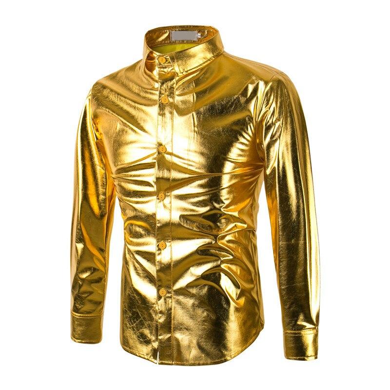2017 Fashion Gold Print Men Slim Fit Shirt Chemise Homme Long Sleeve Shirt Casual Camisas Hombre Luxury Brand Mens Dress Shirts