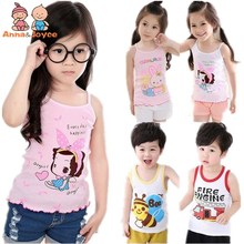 In stock Girls Tanks Baby Girl Summer vest girls clothes tank Wear Tops Cotton Sleeveless Cool Good Quality aTST0003
