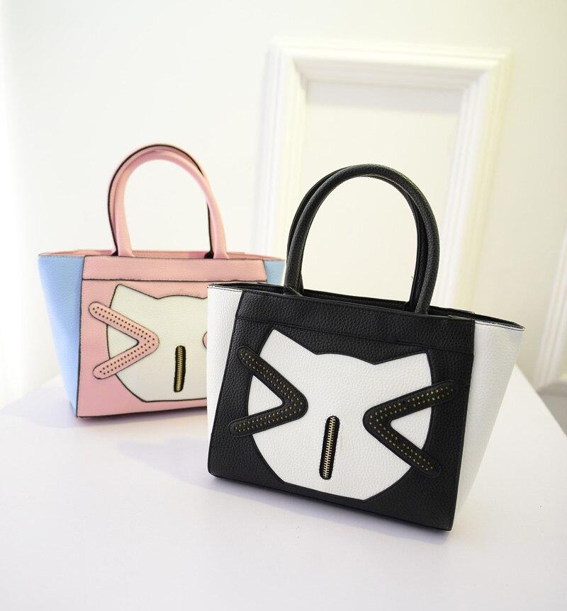 2016 new winter / quality litchi pattern / cartoon design / kt cat / splicing handbag / sweet shoulder women bag / Free Shipping<br><br>Aliexpress
