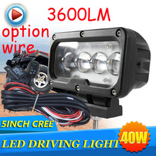 "Free DHL/UPS Ship,5"" 40W 3600LM 10~30V,6500K,LED working light;Free ship!Optional wire;motorcycle light,forklift,tractor light"