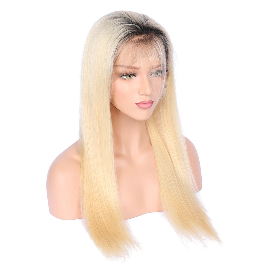 BEEOS #1bT#613 Glue Full Lace Wig With Baby Hair Pre Plucked Remy Ombre Blonde Human Hair Wigs Bleached Knots Average Cap (11)