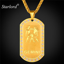 Starlord Zodiac Charms GEMINI Pendant Necklace Women Jewelry Gift Rhinestone Gold Color Necklace Dog Tags For Men P1823