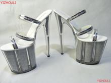 Ultra 20CM Crystal Platform Shoes High Heel Sandals Silver Glitter Model Shoes Fashion 8 Inch Platforms Slipper(China)