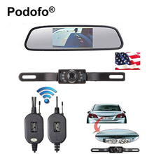 "Podofo Wireless Car Rear View Camera 4.3"" TFT Rearview Mirror Monitor HD Video Parking LED Night Vision CCD Backup Cameras Kit(China)"