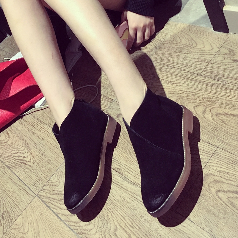 Discount Winter Womens Chelsea Boot Black Sheepskin Leather Spring Ankle Boots Fashion Grey Handmade Martin Boot Warm Plush Shoe<br><br>Aliexpress