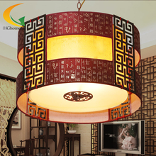 Wooden carvings round sheepskin lamp chandelier light classical Chinese Restaurant Hotel restaurant study lamp ais