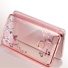 For Coque Xiaomi Redmi 4X Case Silicone Bling Diamond Clear Cover Soft TPU Flower Flora Phone Cases For Xiaomi Redmi 4X 5.0 Case