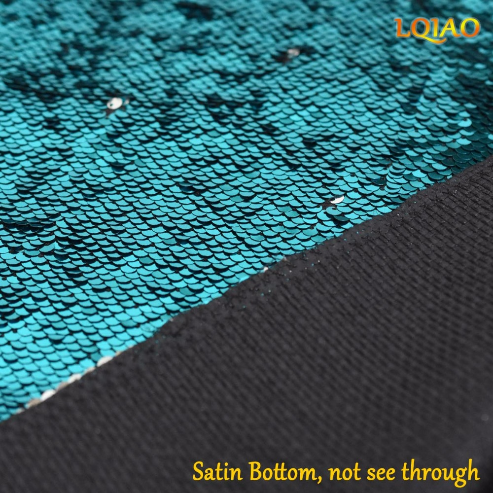 Turquoise Silver Sequin Fabric Reversible-004