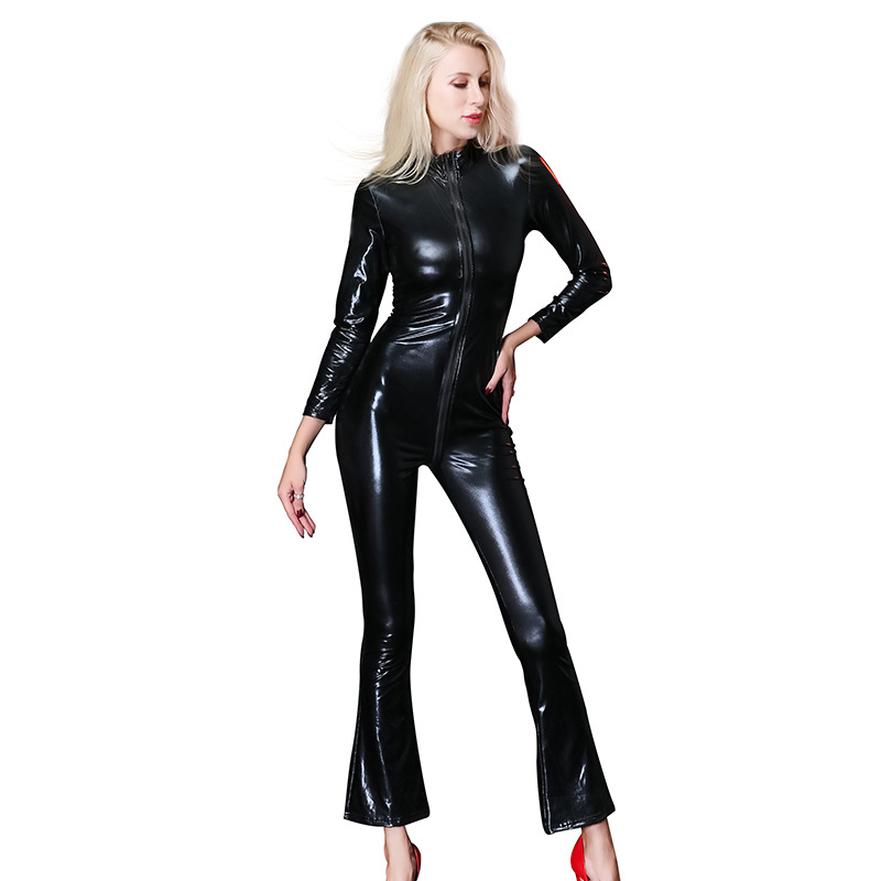 Sexy Women Faux Leather Jumpsuit Black Catwoman Catsuit Costumes Clubwear Body Suits Women Zipper Open Crotch Latex Catsuits