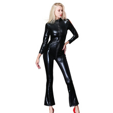 Buy Sexy Women Faux Leather Jumpsuit Black Catwoman Catsuit Costumes Clubwear Body Suits Women Zipper Open Crotch Latex Catsuits