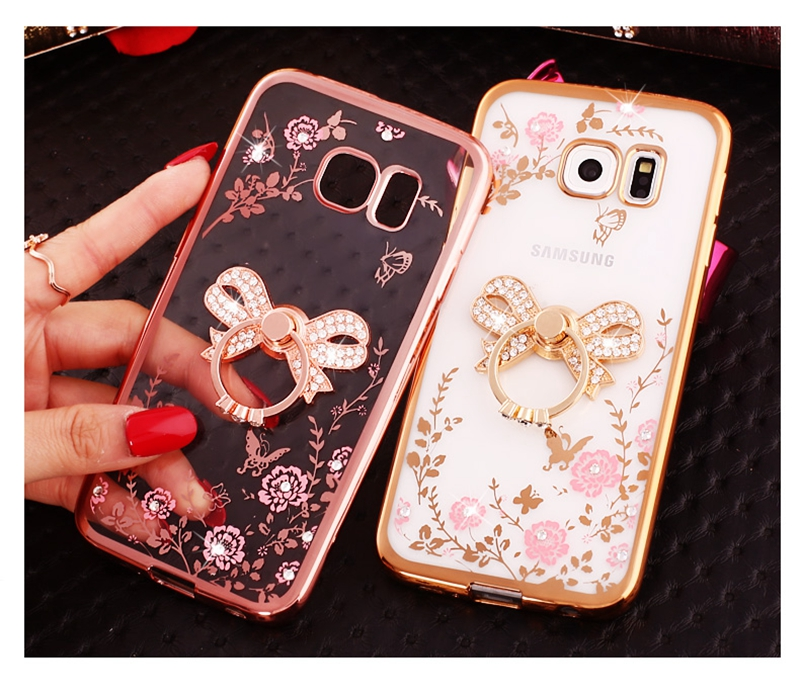 Bling Rhinestone Soft TPU Case With Finger Ring Holder For Samsung Galaxy J1 2016 J2 Prime J3 J5 J7 A3 A5 2016 2017 Capa Cover