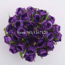 Free Shipping New 26 Heads/Bunch Dark purple petals Artificial Silk Flower Roses Posy rattan Wedding Bridal Bouquet Flowers 25cm
