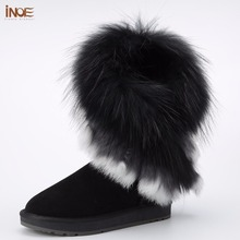 INOE real fox fur tassels sheepskin leather sheep fur lined fashion suede winter snow boots for women winter shoes black brown(China)