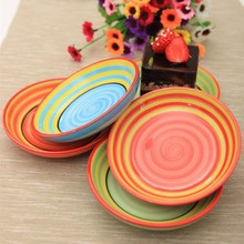 "Dia 4.5"" Popular Hand Painted Rainbow Porcelain Plates Cute Pickles Dishes Household Supplies 4pcs/lot SH130"