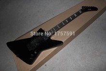 Free shipping ESP Explore signature series SNAKEBYTE James Hetfield black Electric Guitar with Active Pickup 9V Battery