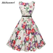 Buy 1950s Audrey Hepburn Vintage Dresses 50s 60s 2017 Summer Women Sleeveless Retro Rockabilly Floral Elegant Dress Vestidos Robe for $11.59 in AliExpress store