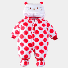 2016 New Cute Baby Romper Newborn Winter Warm Flannel Cotton Cartoon Baby Girl Hello Kitty Clothing Toddler Kids Jumpsuit